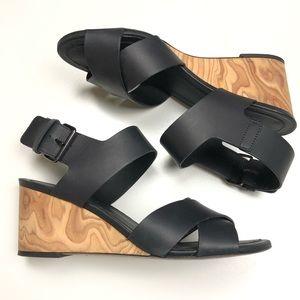 VINCE | Gwyn Leather Slingback Wedge Sandal Black